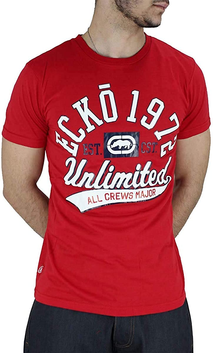 Red Grey Black Ecko Mens Designer Cotton Graphic Print Short Sleeve T-Shirt