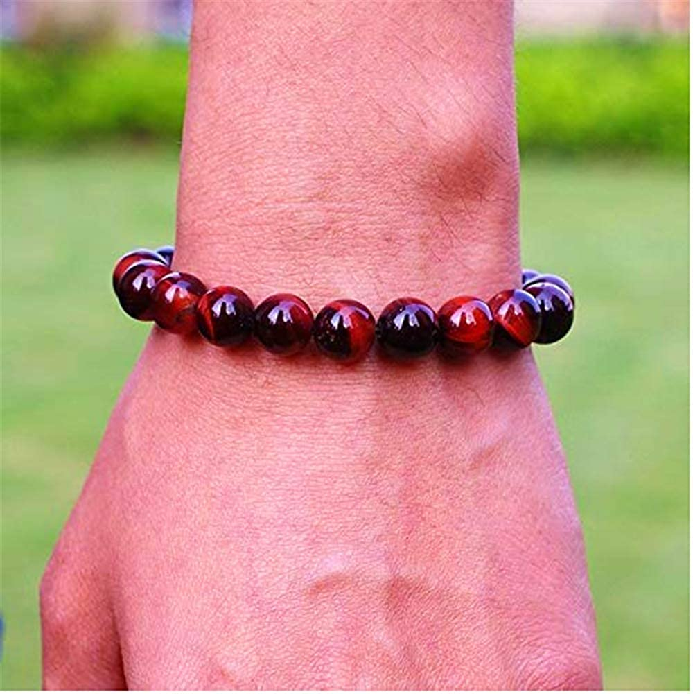8 mm Bead SIMECO JEWELRY Mens Black Amulet Glossy Black Agate Synthetic Stone Bead Bracelet Stretchy from Russia Against Protection 7.5 inch