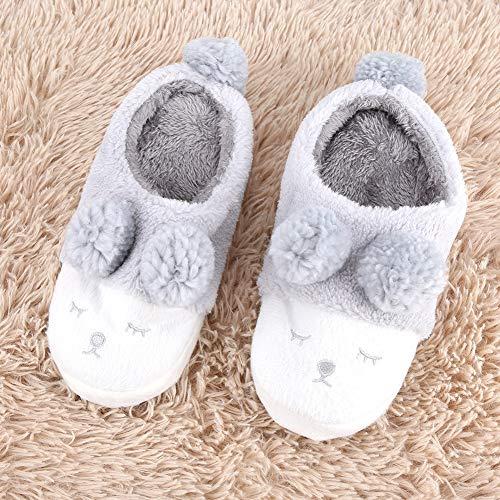 Ultra morbido Peluche Caldo Pantofole In Da Grigio Pattini Donna Antiscivolo Scarpe Per Casa Cotone Morbido Ciabatte WO1qWUaFB