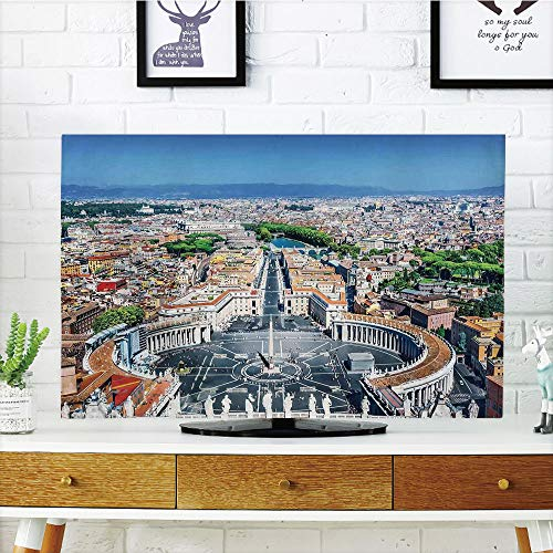 - LCD TV dust Cover Strong Durability,Cityscape,Saint Peters Square in Rome Italian Mediterranean Europe Citscape Urban Mod Print,Multi,Picture Print Design Compatible 42