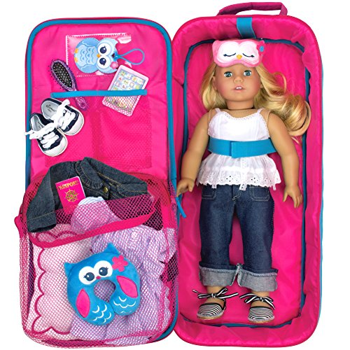 Sophias Doll Carrier Suitcase And Storage For 18 Inch Dolls Hot Pink Polka Dot Travel