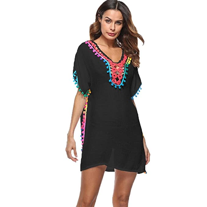 Women Black Flower Beach Dress Cover Up Summer Kaftan Bikini Swimwear Holidays