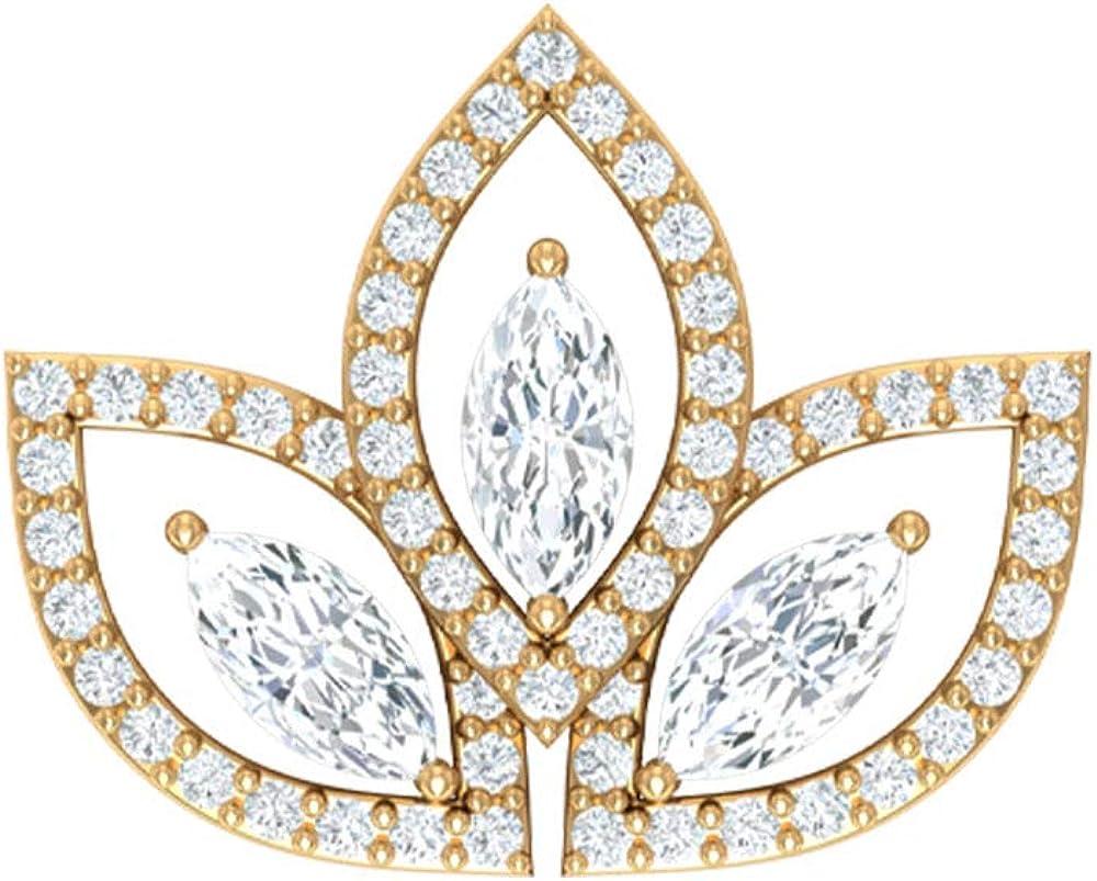 Pendiente de cartílago vintage, certificado SGL 1.15 ct, con forma de marquesa, pendientes de diamante, halo trepador, joyería corporal, pendientes de orugas, Body Jewellery, Única pieza, 18K Oro