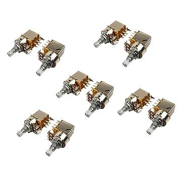 IKN 10pcs A500K Push potenciómetro corto L15mm eje potes para guitarra eléctrica bajo reemplazo: Amazon.es: Instrumentos musicales