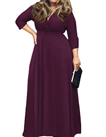 Maxi dress with sleeves plus sizes