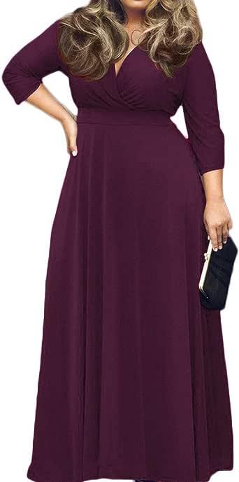 POSESHE Women\'s L-4XL Solid V-Neck Long Sleeve Plus Size Maxi Dress