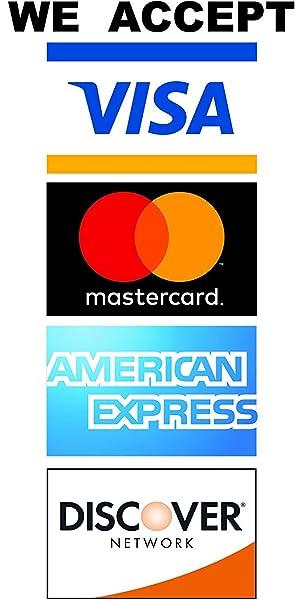 Amazon.com: Aceptamos Visa MasterCard Discovery Amex ...