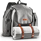 """VonShef 4 Person Premium Outdoor Picnic Backpack Bag With Blanket â€"""" Woven Grey Waterproof Finish Includes 29 Piece Dining Set & Insulated Cooler Compartment to Keep Food Chilled"""