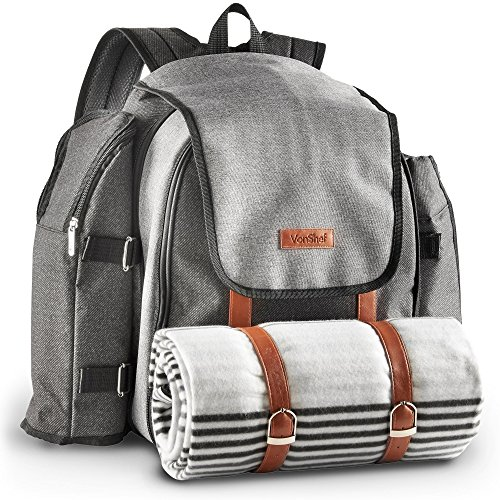 VonShef 4 Person Premium Outdoor Picnic Backpack Bag With Blanket – Woven Grey Waterproof Finish, Includes 29 Piece Dining Set & Insulated Cooler Compartment to Keep Food Chilled - Insulated Food Compartment