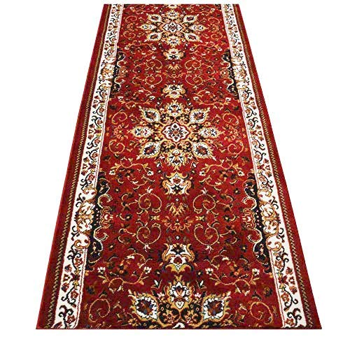 RugStylesOnline Custom Runner Persian Isfahan Medallion Design Runner Rug 36 inch Wide x Your Length Size Choice Nevita Collection Roll Runner (Red, 12 ft x 36 in)