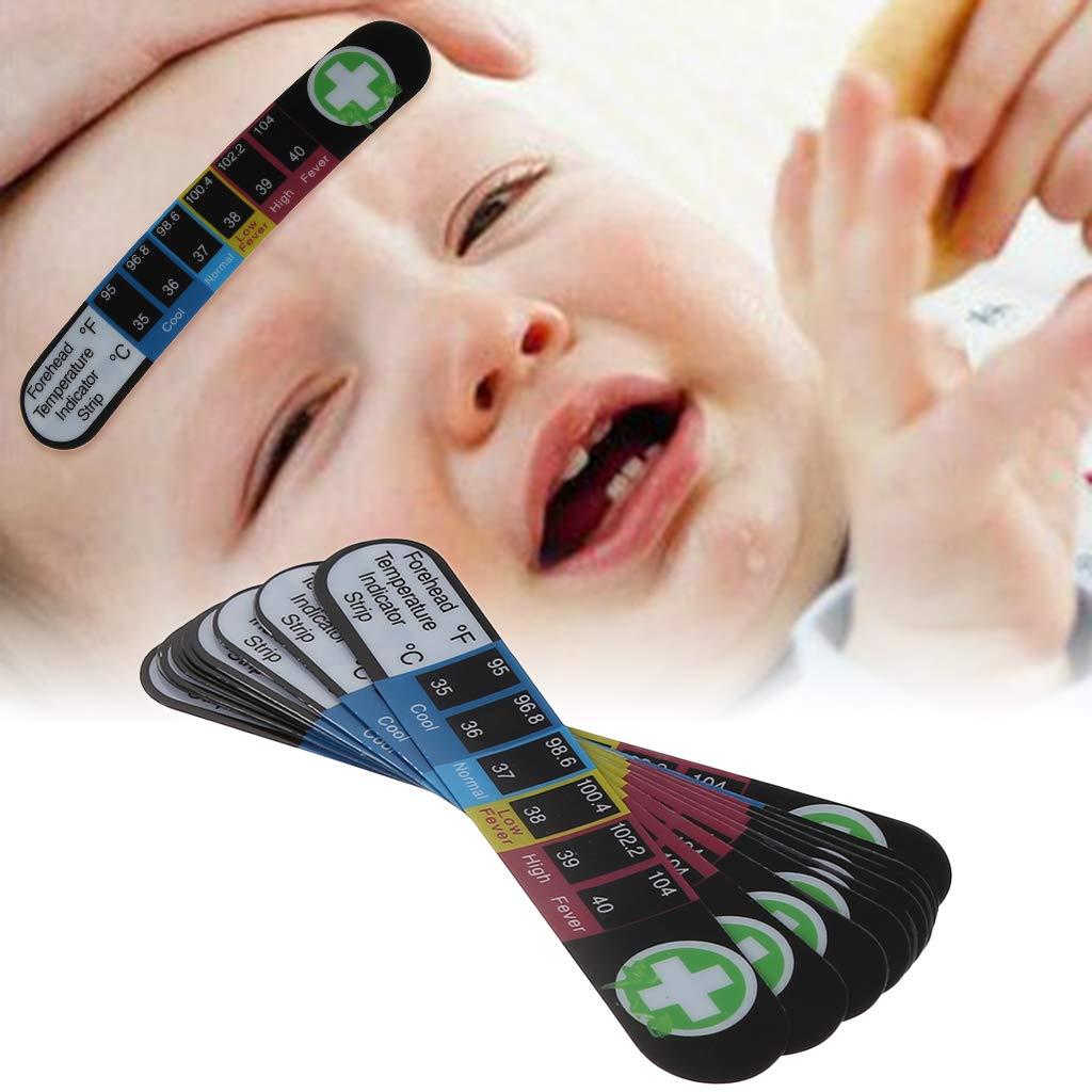 Folewr-8 10Pcs Portable Thermometre Autocollant Thermometre Sticker pour Frontal Bebe et Adulte