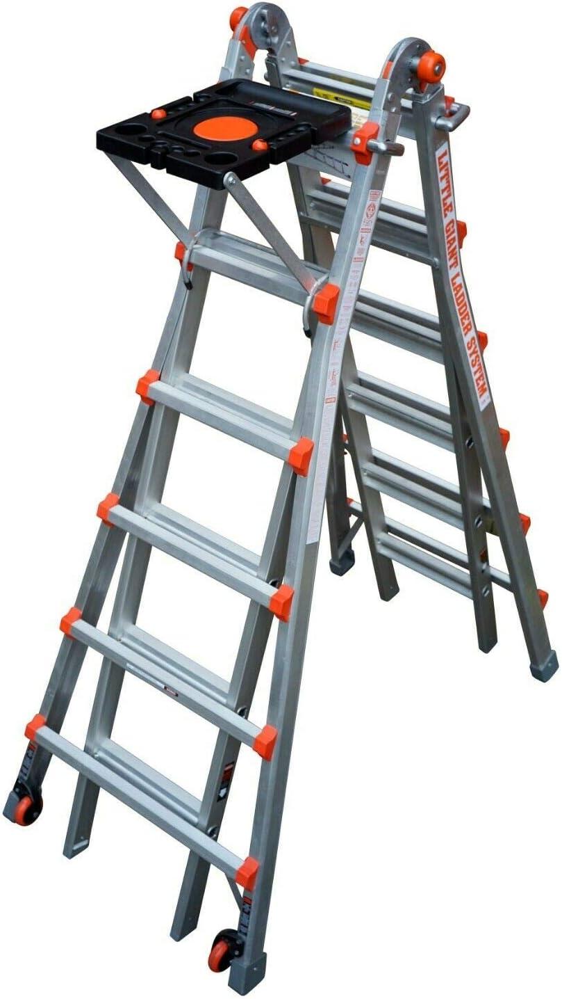 Little Giant Ladders 1303-996 escaleras multiusos clásicas, paquete de 6 bandejas de proyectos de escaleras, aluminio resistente, ruedas de punta y deslizamiento, EN131, garantía de por vida: Amazon.es: Bricolaje y herramientas