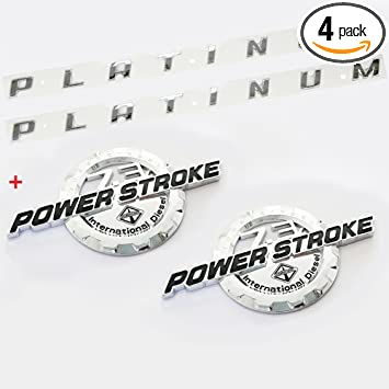 Set OEM 7.3L Powerstroke Superduty Plus F-350 Lariat Super Duty Emblem 3D Nameplate Badge Powerstroke Replacement for F350 Truck Black