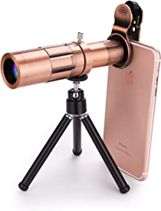Mocalaca 20X Telephoto Zoom Phone Camera Lens Universal Clip Metal Lens Kit with Tripod Compatible for iPhone 11 /Xs/X 8 7 6 Plus SE, Android and Other Phone