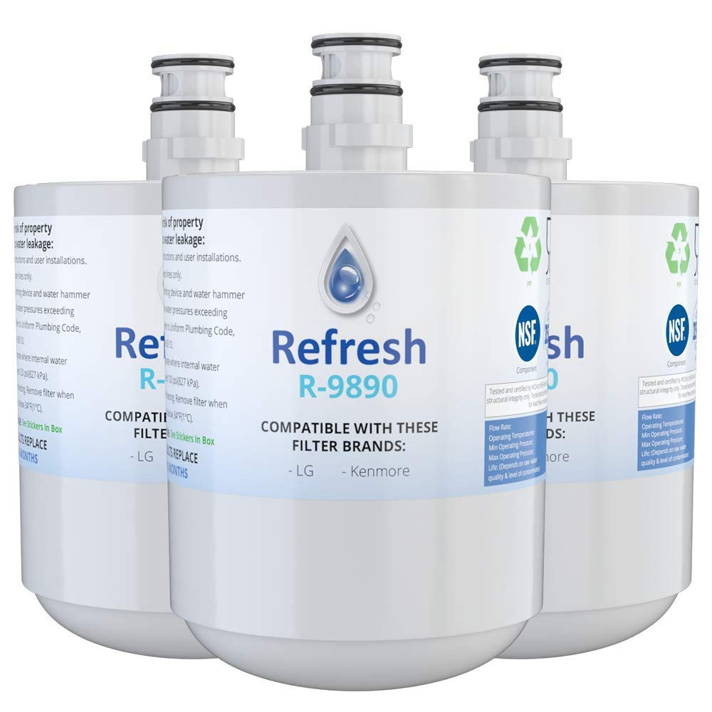 Refresh Replacement for LG LT500P, 5231JA2002A, 5231JA2002A-S, ADQ72910901, ADQ72910902, ADQ72910907 and Kenmore 46-9890 Refrigerator Water Filter (3 Pack)