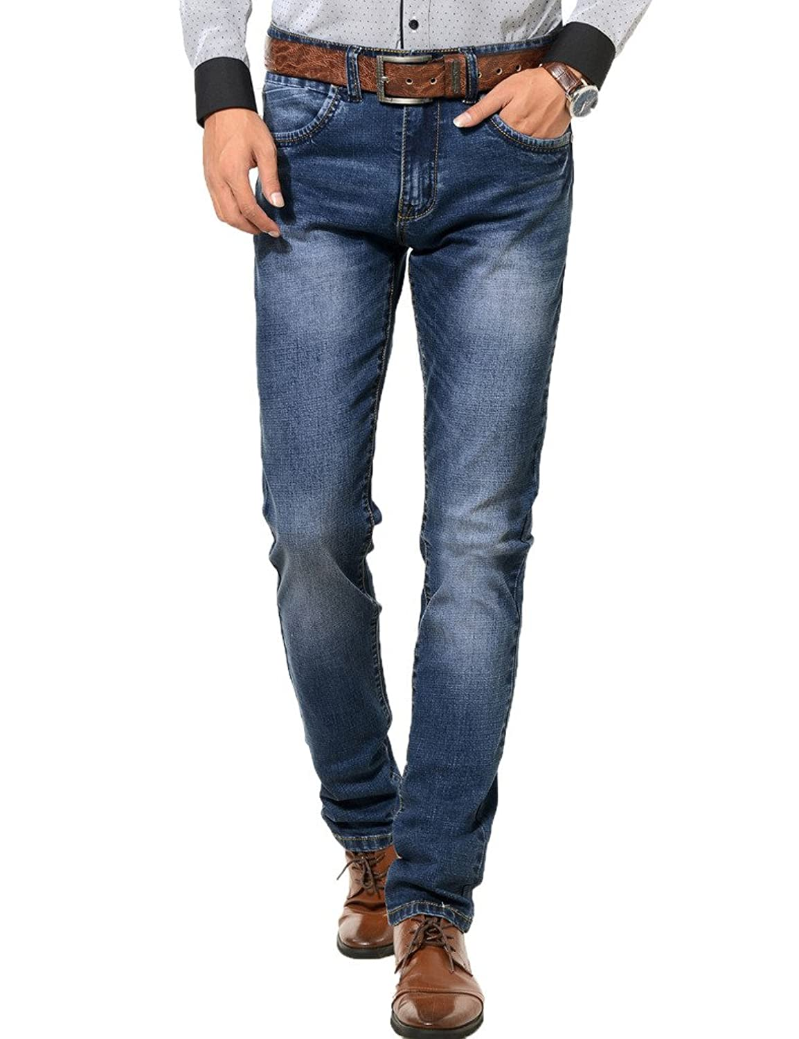 PHOENISING Men's Plain Pattern Washed Fabric Jeans Stretchy Denim Pants