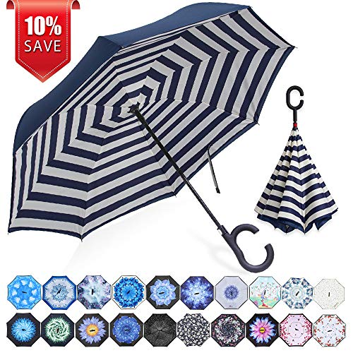 Stripes Self Stick - ZOMAKE Double Layer Inverted Umbrella Cars Reverse Umbrella, UV Protection Windproof Large Straight Umbrella for Car Rain Outdoor with C-Shaped Handle(Blue Stripes)