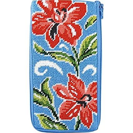 1c09a67f560 Amazon.com  Stitch   Zip Eyeglass Case Needlepoint Kit- Red Floral