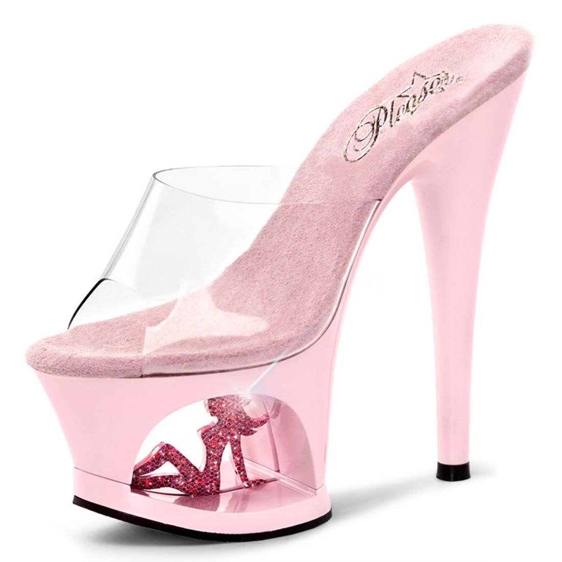 dc612442930 Pale Pink Heels with Sparkling Trucker Girl in Cutout Platform and 7 Inch  Heel