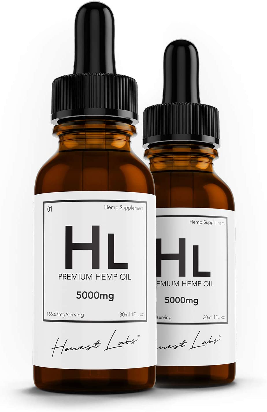 (2 Pack) 5000mg Organic Hemp Oil Pure Extract for Pain, Anxiety and Stress Relief, Sleep, Stress Relief 10,000mg Total, 60-Day Supply - Organic Omega Supplement - Honest Labs Hemp
