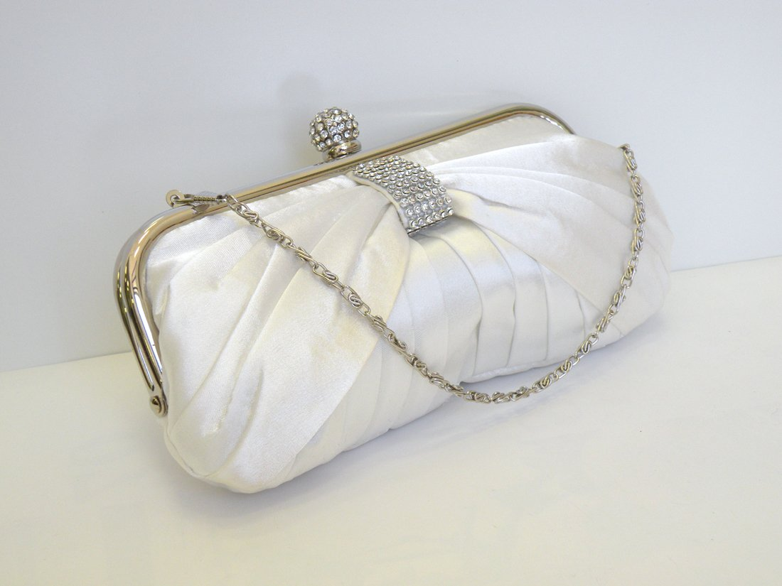 Pleated Smooth Touch Satin Evening Bag Wedding Bag Party Bag.With a Rhinestone-Encrusted Centered. Handheld and Long Shoulder Chain. 9'' Length x 5'' Height .