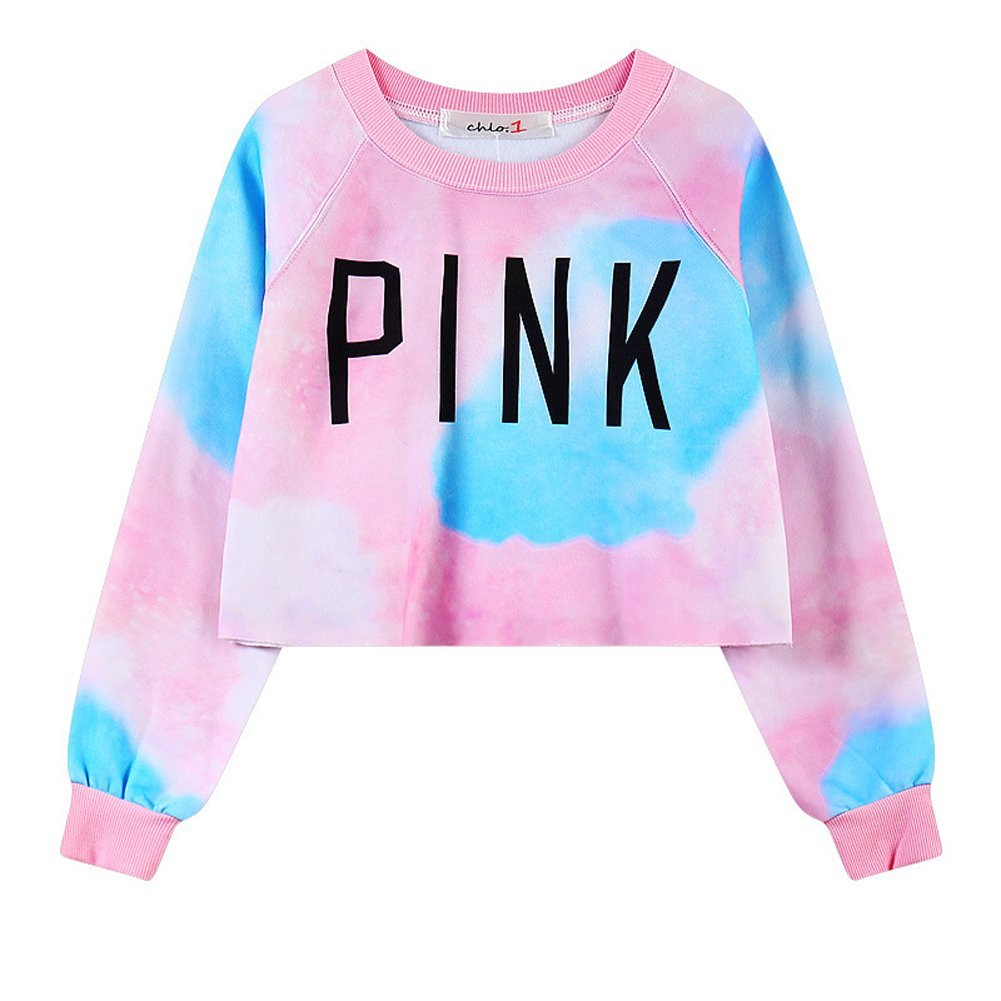 Girls Teens Womens Sweetshirt Pullover Sweater Crop Tops(Tie Dye Pink 2)