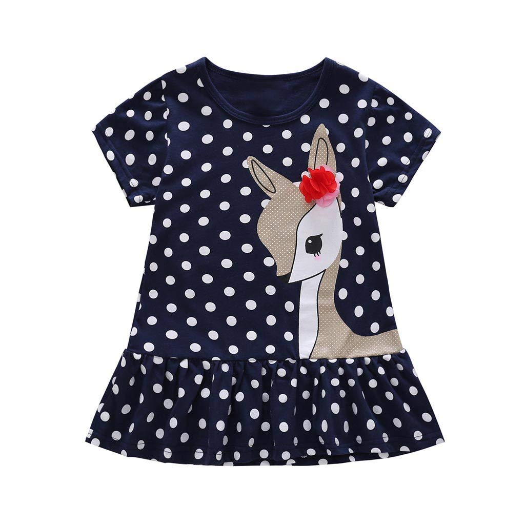 Jchen(TM) Little Kids Baby Girls Dress Cute Cartoon Deer Dot Print Short Sleeve Party Casual Princess Dress for 1-7 Y (Age:3-4 Years, Navy)