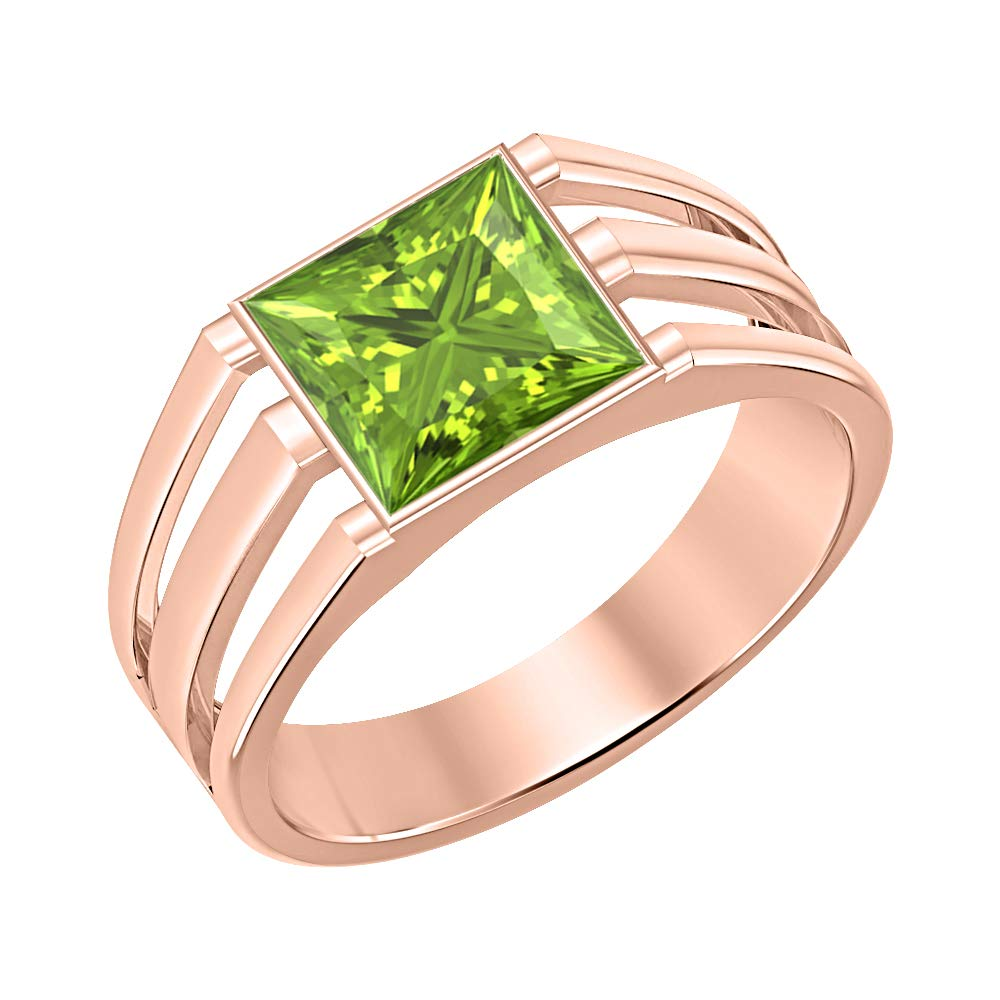tusakha 14K Rose Gold Over 925 Sterling Silver Solitaire Princess Cut Peridot Mens Wedding Band Engagement Ring