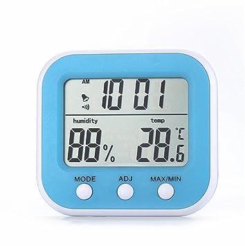 ZHAS temperatura interior higrómetro, termómetro de la habitación del bebé en casa, Reloj Despertador digital LCD Mostrar higrómetro: Amazon.es: Hogar