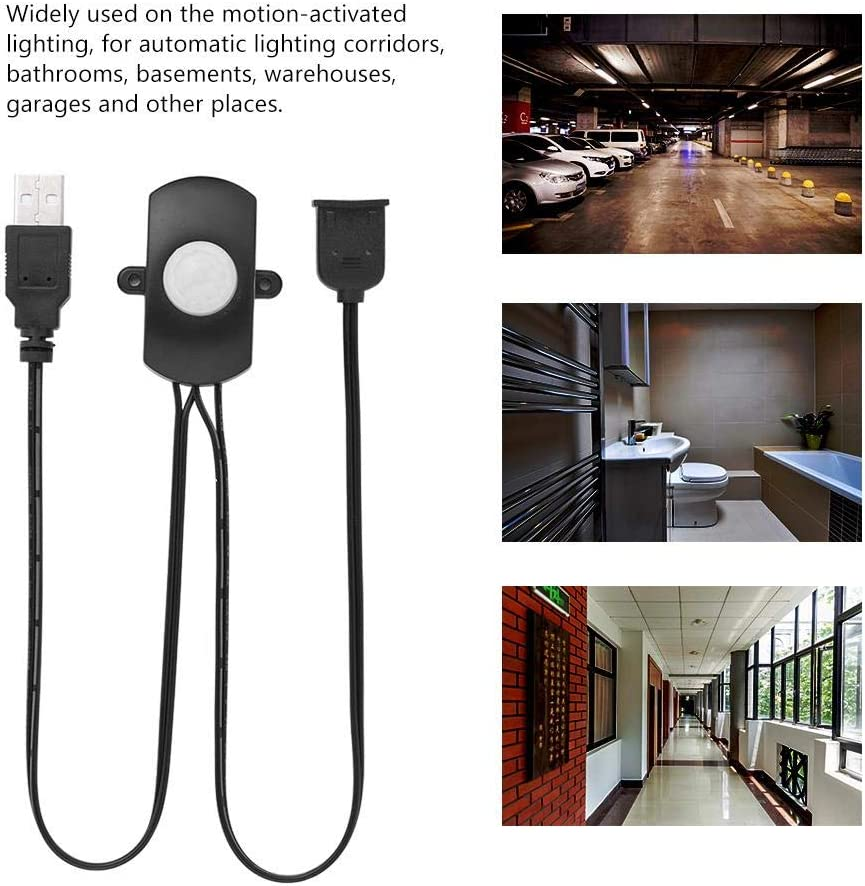 PIR Sensor Switch,4A DC 5-24V Mini PIR Infrared Motion Sensor Detector Automatic Switch LED Strip USB Interface,120/° Cone Angle Detecting Range White