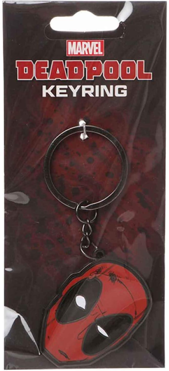 Marvel Deadpool Schl/üsselring Keychain Mask Logo Nue offiziell Rot metal