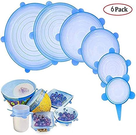 cubiertas de silicona para alimentos frescos y sobras 12 unidades apas el/ásticas de silicona reutilizables duraderas y expandibles