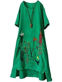 MatchLife Femme Robe Longue en Lin Manches 2 4 Belle Tunique Brodée Robe d  eb8783ff2a5a