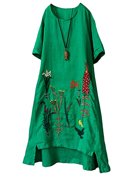3159fc39248 Mordenmiss Women's Embroidered Linen Dress Summer A-Line Sundress Hi Low  Tunic Clothing Green M