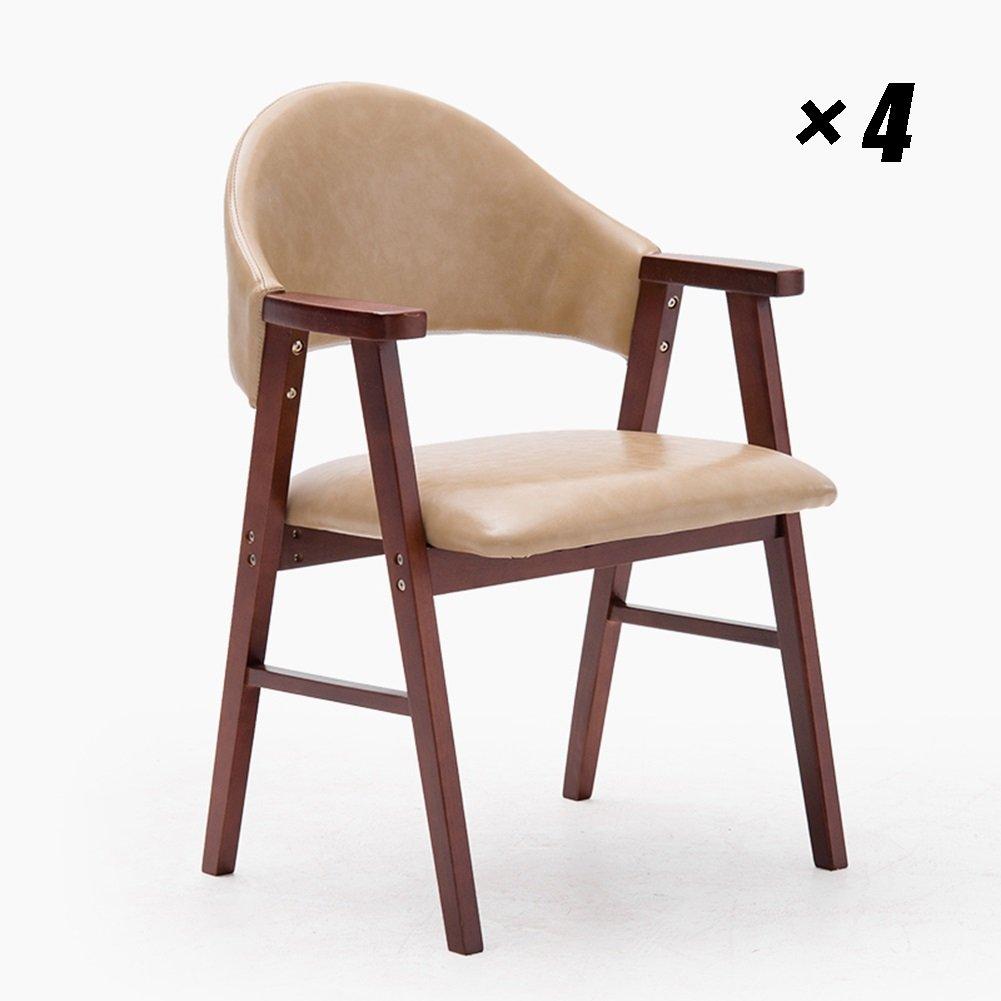 木製のラウンジチェア快適なクッション付きPUシート家庭用、キッチン、カフェ、会議用の近代的なダイニングチェア57×58.5×81.5cm (色 : Brown, サイズ さいず : Set of 4) B07F5M632G Set of 4|Brown Brown Set of 4