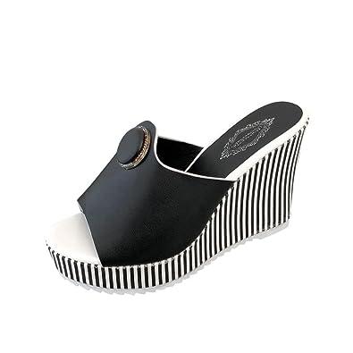 IGEMY Mode Streifen Frauen 3 cm Plattform 11 cm High Heels Sandalen Wasserdichte Steigung Sandalen Hausschuhe