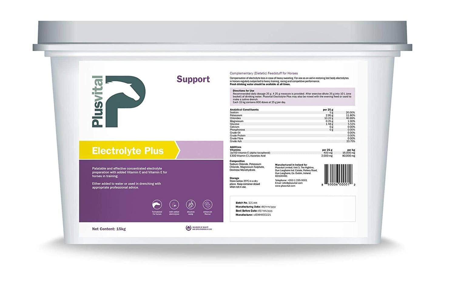 Plusvital Electrolyte Plus Nutritional Supplements, 15 kg, One Size