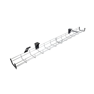 100cm Long Under Desk Basket Cable Tray Galvanized Steel Mesh Cord Management Rack w/ Mounting Bracket, Cover & End cap (cesta para cables )