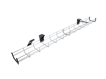 160cm Long Under Desk Basket Cable Tray Galvanized Steel Mesh Cord Management Rack w// Mounting Bracket Supporto cavi Cover /& End cap