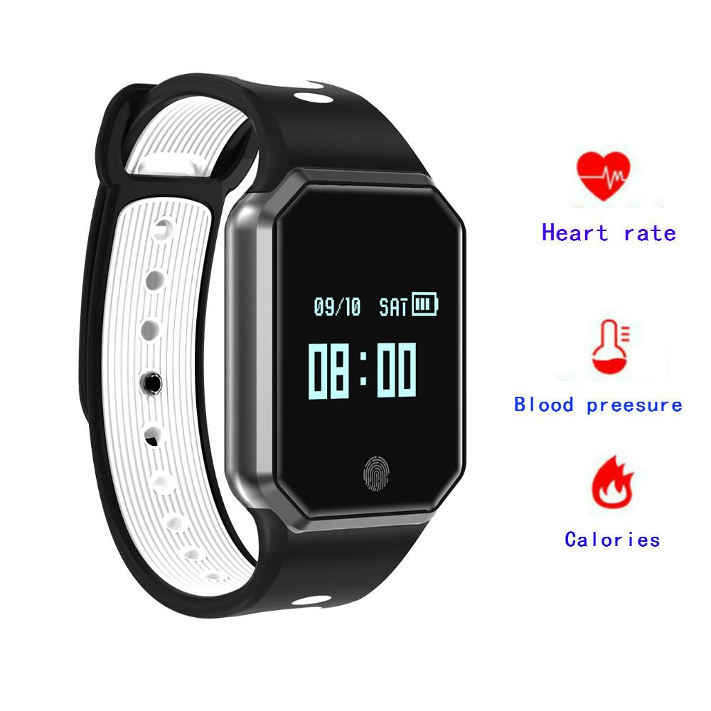 Hangang Smart Watch 0.95 Inch LED Metal Fashion Wristband IP67 waterproof Smart pedometer hands-free phone Support Blood Pressure Heart Rate Monitoring Detachable Watch for IOS/Android (white)