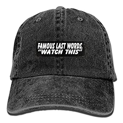 jia3261 Famous Last Words Watch This Unisex Denim Baseball Cap Adjustable Strap Low Profile Plain Hats Outdoor Casquette Snapback Hats Natural by jia3261