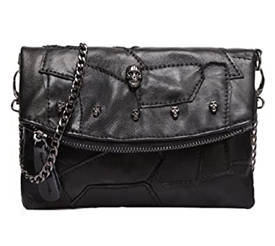 Sibalasi-Women Colorblock Lambskin Leather Crossbody Bag Black Genuine leather  Handbag Multicolor Halloween Skull Studded Purse (Black)  Amazon.in  Shoes    ... 56f6c5f0e5ca5