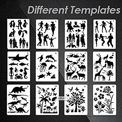 Tripleglee Fast Draw Stencil Art Templates 12 Sheets//Set Set 1 -Sunnymode