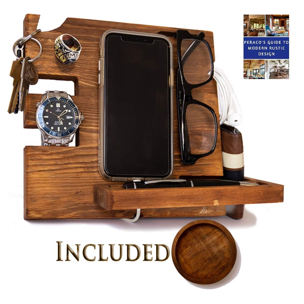 Wooden Docking Station for Men - Nightstand Organizer with Coaster - Charges Phone and Holds Keys, Watch, Wallet, Glasses, Ring, Pen, Coins- Perfect Gift with Varnish Finish and Free eBook by Peraco by Peraco