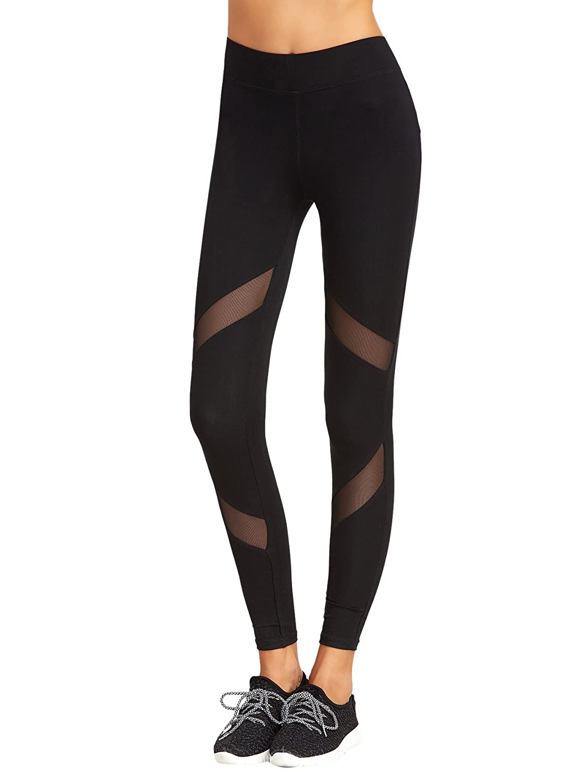 1556ac2254d0b6 Basic Women Leggings, Slimming Look, High Waist Soft and Comfy fabric,  Stretchy Pants Mesh and Color Block, Casual Sports Legging Tights