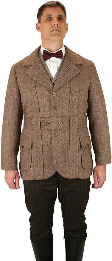 Historical Emporium Men's Norfolk Wool Blend Herringbone Tweed Jacket