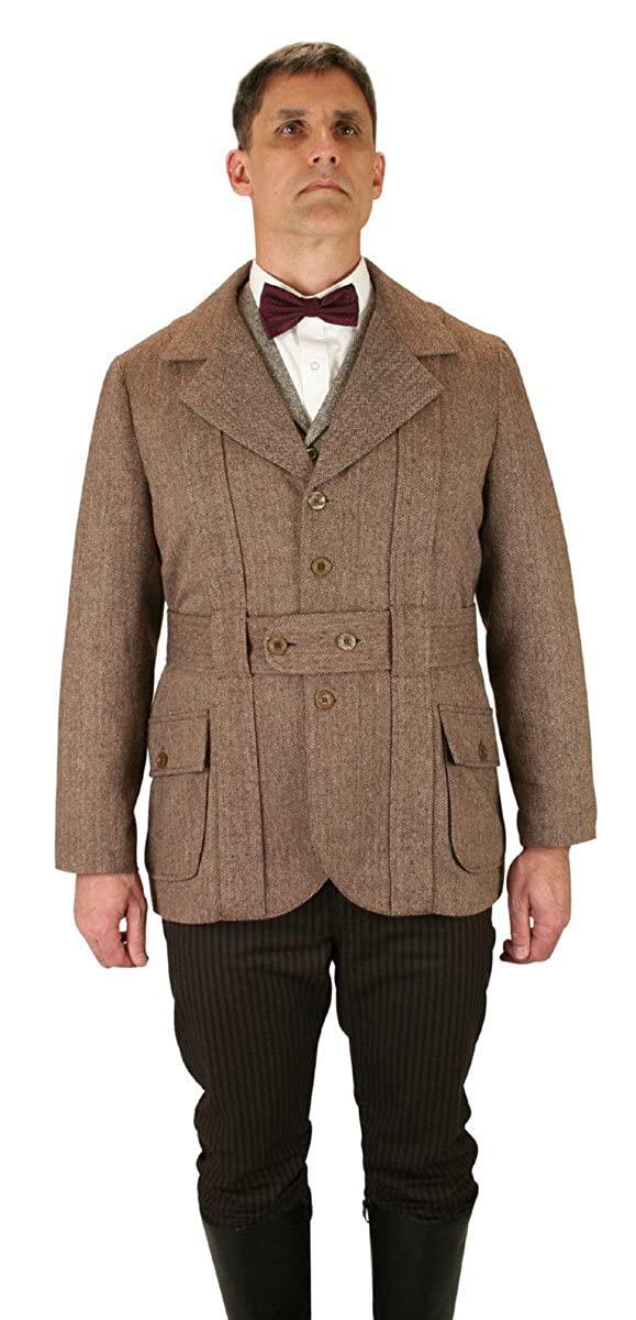 Men's Steampunk Clothing, Costumes, Fashion Mens Norfolk Wool Blend Herringbone Tweed Jacket $149.95 AT vintagedancer.com