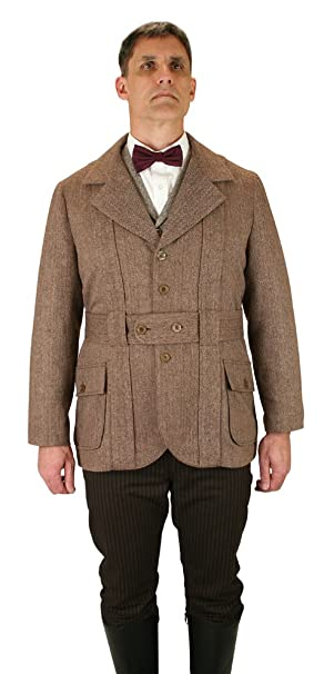 Men's Steampunk Jackets, Coats & Suits Norfolk Wool Blend Herringbone Tweed Jacket Historical Emporium Mens  $149.95 AT vintagedancer.com
