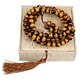 8mm Tiger Eye Healing Semi Precious Gemstones 108 Tibetan Buddhist Prayer Beads Mala Beads Bracelet Necklace