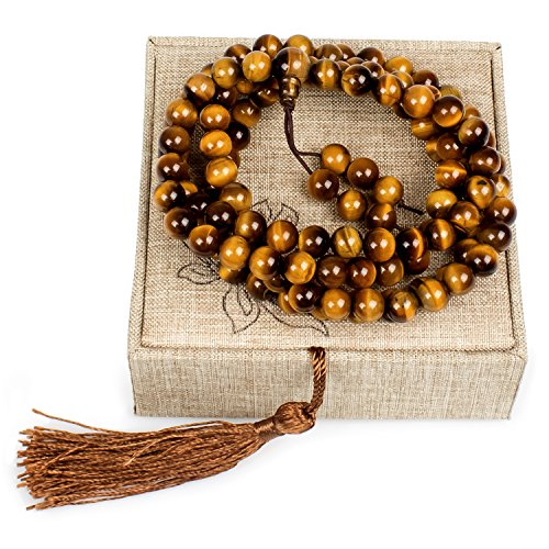 Mala Beads - Tibetan Mala Prayer Japa Beads Bracelet Necklace - Buddhist Prayer Beaded Bracelet Necklace - 108 Tiger Eye Semi Precious Gemstones Jewelry for Mantra and Meditation(Tiger Eye,Mala Beads)